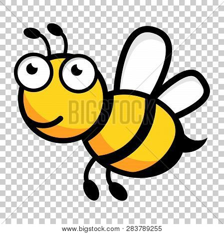 Cartoon Bee Logo Icon In Flat Style. Wasp Insect Illustration On Isolated Transparent Background. Be