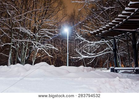 Street Lamp, Snowdrifts And Trees Under Snow