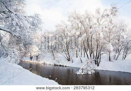 River And Trees Under Snow On A Winter Day