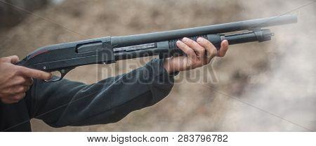 Combat Shotgun Shooting Training. Long Gun, Pump Gun And Scattergun Action Course. Shooting Range