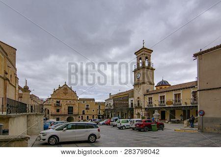 Chinchilla De Montearagon, Albacete, Spain; February 2017: View Of Townhall In The Main Square, Plaz