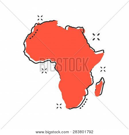 Cartoon Africa Map Icon In Comic Style. Africa Illustration Pictogram. Country Geography Sign Splash