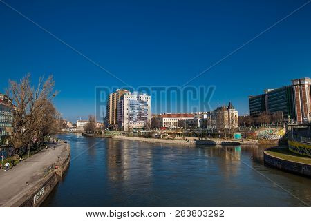 Vienna, Austria - April, 2018: The Danube Canal Seen From The Aspern Bridge In Vienna Which Connects