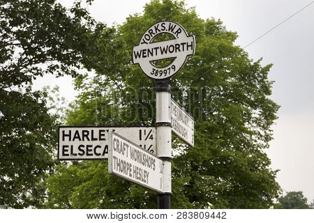 Old Traditional Sign At The Roadside Wentworth, Rotherham, South Yorkshire, England