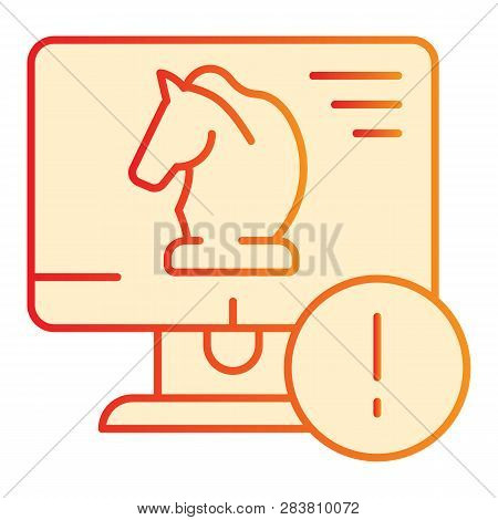 Trojan virus flat icon. Horse on desktop orange icons in trendy flat style. Computer virus gradient style design, designed for web and app. Eps 10. poster
