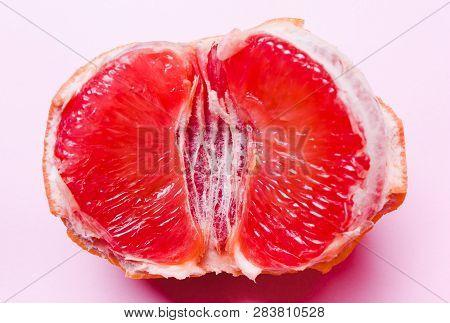 Concept Sex, Masturbation. Grapefruit, Vagina Symbol