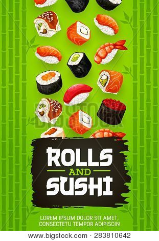 Rolls And Sushi Japanese Cuisine Cooking With Fish, Vector. Gunkan With Shrimp, Salmon Or Eel Nigiri