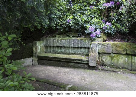 Wentworth, Uk - June 1, 2018. Stone Seat Set Within The Grounds Of Wentworth Woodhouse. Rotherham, S