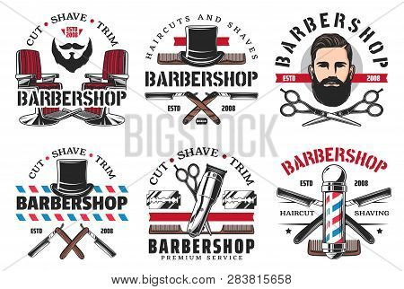 Barber Shop Haircut And Shaving Icons. Vector Man With Hairstyle, Beard And Mustaches, Retro Razor B