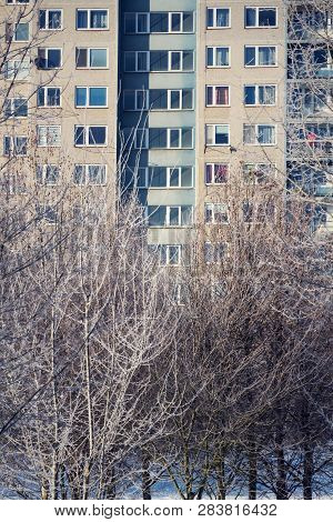 Insulated Panel House Apartments Behind Trees, High-rise Block Of Flats, Prefabricated Tower Blocks