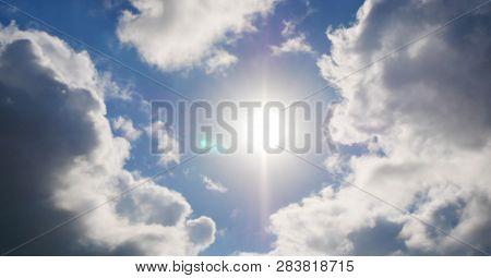 The Divine Sky. Heavy Leaden Sky With Breaking Sun Rays.