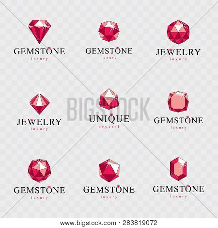 Vector Abstract Geometric Shapes For Use In Advertisement Design Concept. Set Of Vector Glossy Red R