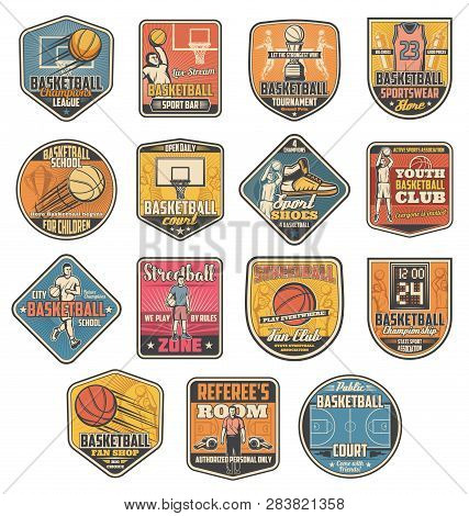 Basketball Sport Icons, Ball And Player. Vector Basket And Court, Uniform And Sneakers, Trainer And