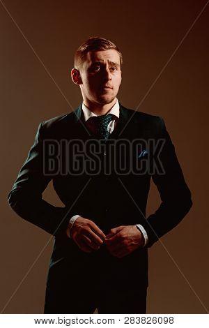 Boss Concept. Confident Boss. Boss In Fashionable Suit. Dress Like A Boss.