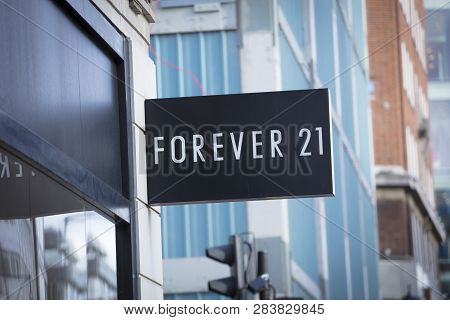 London, Greater London, United Kingdom, 7th February 2018, A Sign And Logo For Forever 21 Store