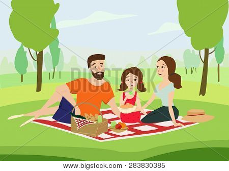 Happy Family On A Picnic Vector Illustration