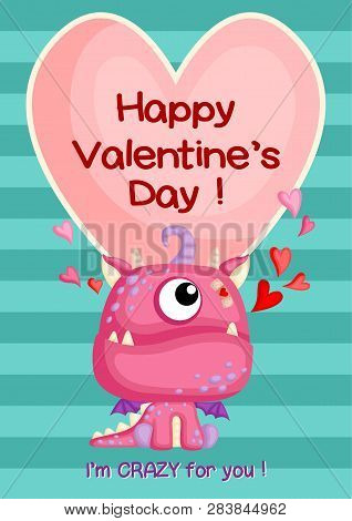 A Card Of Cute Pink Monster With Little Teeth And Wings Sitting To Celebrate Valentine Day