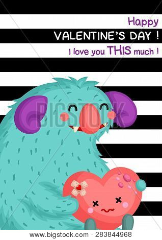 A Card Of Cute Chubby Turquoise Monster Holding Heart Doll To Celebrate Valentine Day