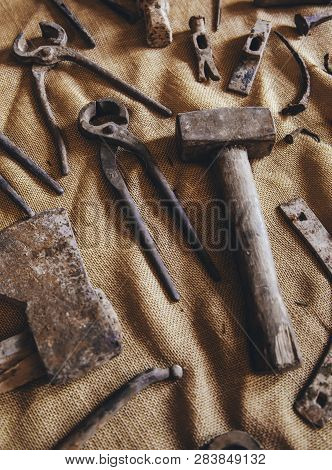 Old Tools For Carving Stone Of Handmade Way, Detail Of Old Manual Craft