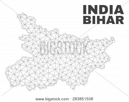 Abstract Bihar State Map Isolated On A White Background. Triangular Mesh Model In Black Color Of Bih