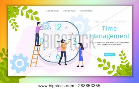Work Time Management Organization Vector Banner. Female Manager Control Human Resources Economy. Peo