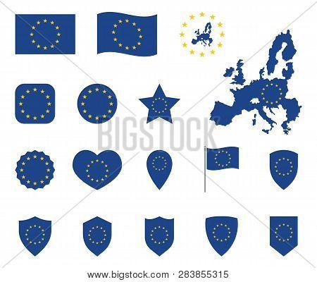 European Union Flag Icons Set, Symbols Of Eu Flag