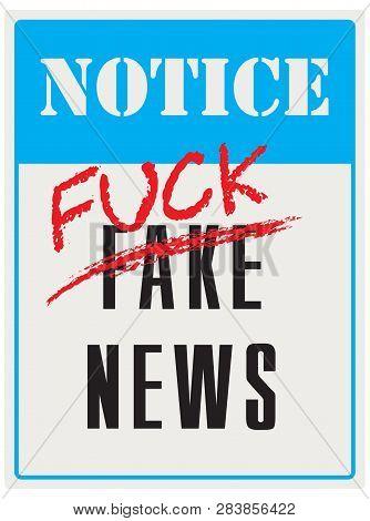 Pointer Notifying That Fake News. Vector Illustration
