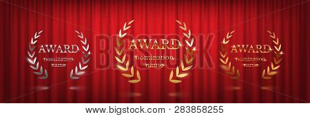 Golden, Silver And Bronze Award Signs With Laurel Wreath Isolated On Red Curtain Background. Vector