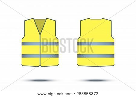 Yellow Reflective Safety Vest Isolated On White Background. Vector Front And Back Yellow Vest.