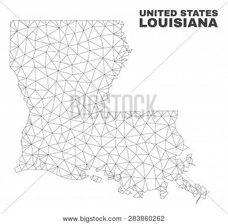 Abstract Louisiana State Map Isolated On A White Background. Triangular Mesh Model In Black Color Of