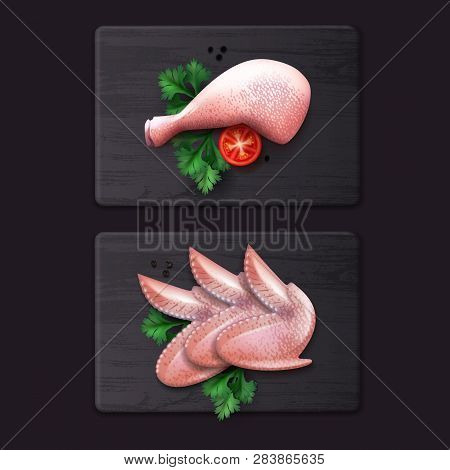 Vector Illustration Of Raw Chicken Thigh And Wings With Peppercorns, Tomatoes And Parsley On Wooden