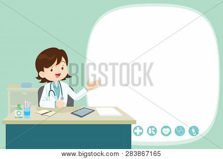 Doctor Present Sitting At The Table In Hospital, Infirmary, Clinic.healthcare Concept.character Prof