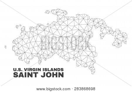 Abstract Saint John Island Map Isolated On A White Background. Triangular Mesh Model In Black Color
