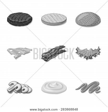 Isolated Object Of Burger And Sandwich Logo. Collection Of Burger And Slice Stock Symbol For Web.