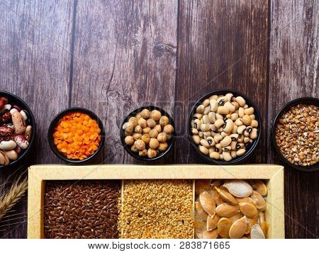 Bean Seeds, Lentil, Peas On Wooden Table, Healthy Rich With Fiber Food, Food Rich In Vitamin A, E, B