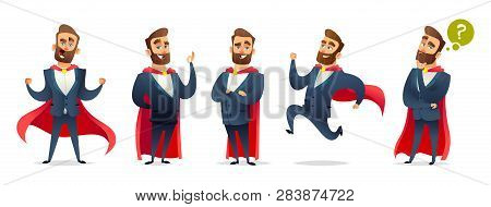 Businessman In A Superhero Costume. Character Collection Of Business Hero In Various Poses. Super Ma