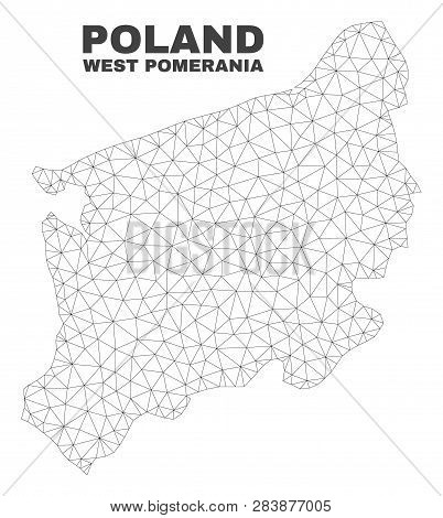 Abstract West Pomeranian Voivodeship Map Isolated On A White Background. Triangular Mesh Model In Bl