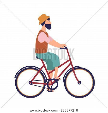 Bearded Hipster Man In Hat And Casual Clothes Riding City Bike. Funny Male Character On Bicycle. Ped