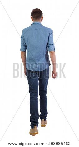 Back view of going  handsome man . walking young guy . Rear view people collection.  backside view of person.  Isolated over white background. A man in a short sleeve shirt walks away.