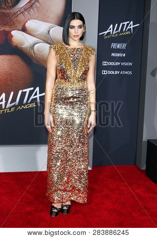 Dua Lipa at the Los Angeles premiere of 'Alita: Battle Angel' held at the Regency Village Theatre in Westwood, USA on February 5, 2019.