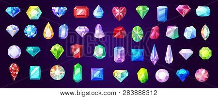 Precious Stones And Gems, Jewelry. Vector Rhinestone And Brilliant, Sapphire And Amethyst, Aquamarin