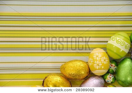 Easter eggs on a striped background.