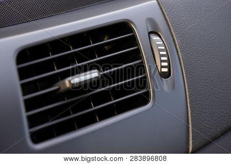 Air Vent On A Dashboard Of A Car For Air Circulation