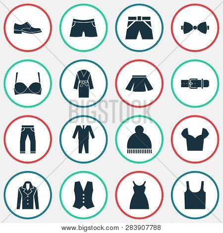 Dress Icons Set With Male Footwear, Bow Tie, Suit And Other Dress Elements. Isolated Vector Illustra
