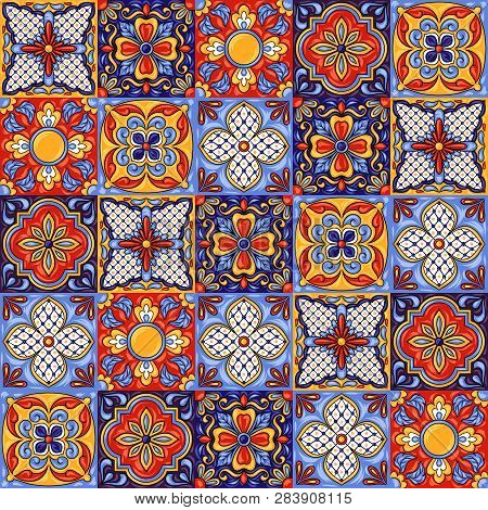 Mexican Talavera Ceramic Tile Pattern. Ethnic Folk Ornament. Italian Pottery, Portuguese Azulejo Or
