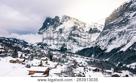 winter scenery of an alpine mountain village