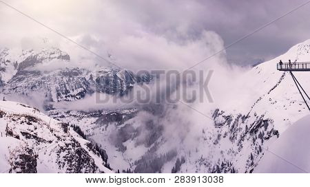 view from First mountain over to eitner, mönch and jungfrau near the village of grindelwald, swiss alps, switzerland
