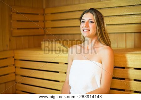 Woman steam bath sauna relax
