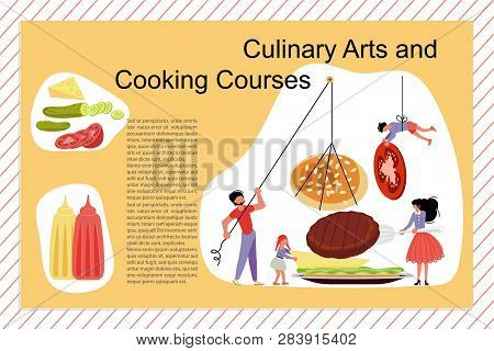 Culinary Art And Cooking Courses Poster, Banner Template. Happy Family Cooking Together A Hamburger