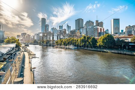 2nd January 2019, Melbourne Australia : Yarra River View In Central Melbourne With Riverbank Promena